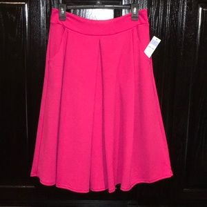 Agnes & Dora Hot Pink Pleated Midi Skirt